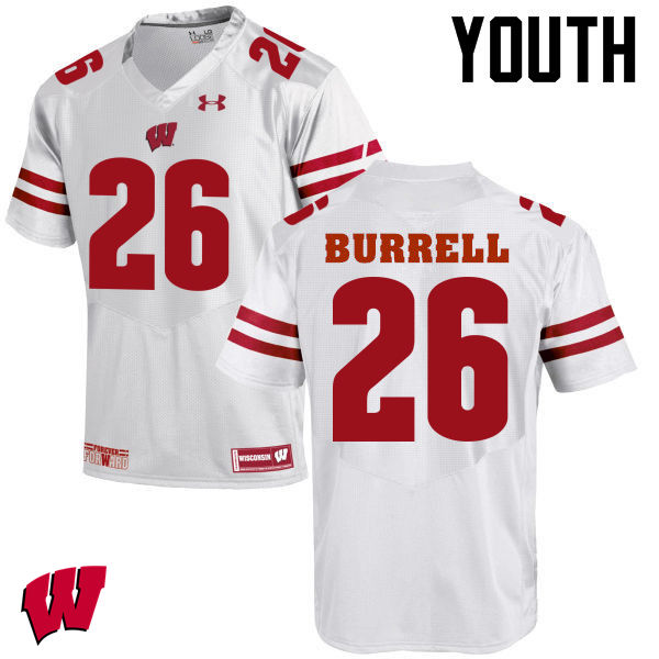 Youth Wisconsin Badgers #26 Eric Burrell College Football Jerseys-White