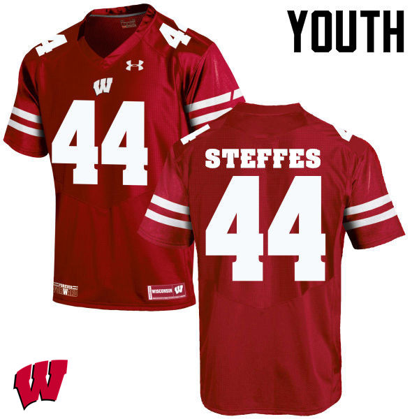 Youth Wisconsin Badgers #44 Eric Steffes College Football Jerseys-Red