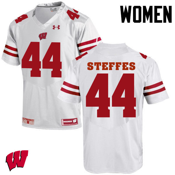 Women Wisconsin Badgers #44 Eric Steffes College Football Jerseys-White