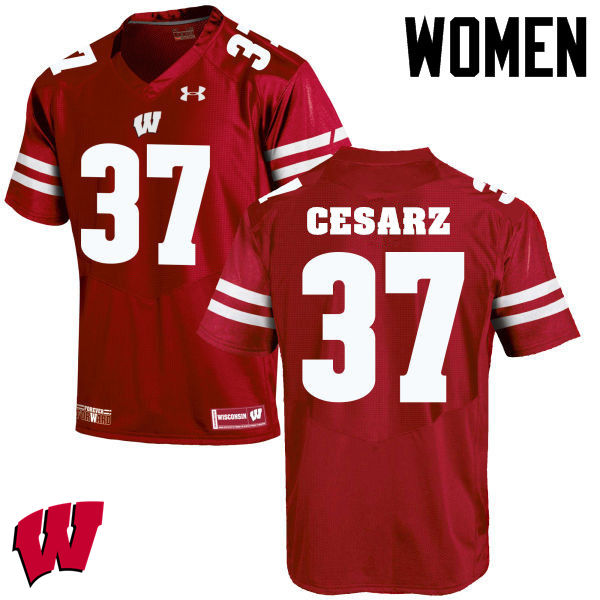 Women Winsconsin Badgers #37 Ethan Cesarz College Football Jerseys-Red