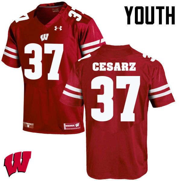 Youth Winsconsin Badgers #37 Ethan Cesarz College Football Jerseys-Red