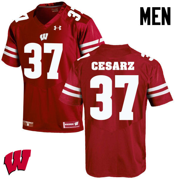Men Winsconsin Badgers #37 Ethan Cesarz College Football Jerseys-Red