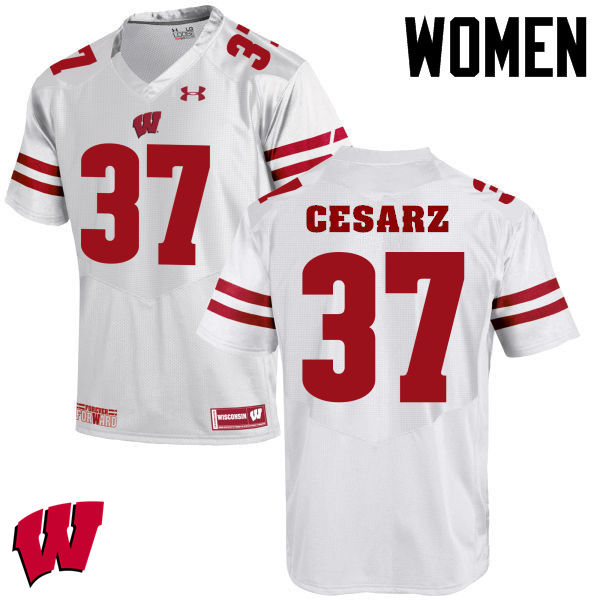 Women Winsconsin Badgers #37 Ethan Cesarz College Football Jerseys-White