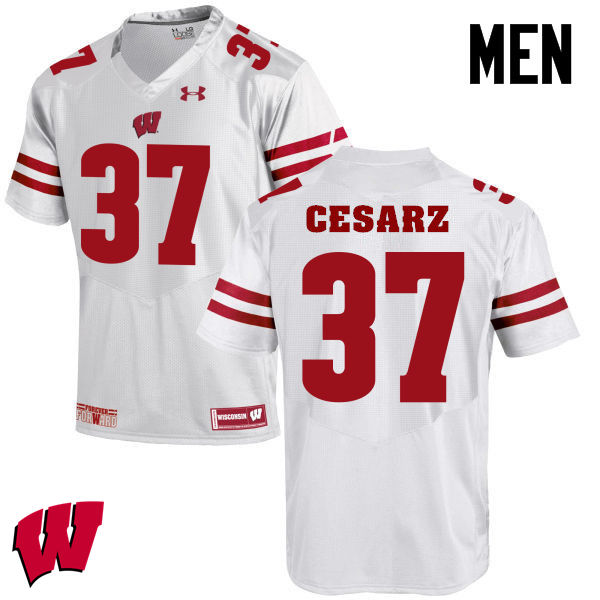 Men Winsconsin Badgers #37 Ethan Cesarz College Football Jerseys-White