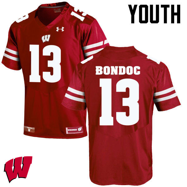 Youth Wisconsin Badgers #13 Evan Bondoc College Football Jerseys-Red