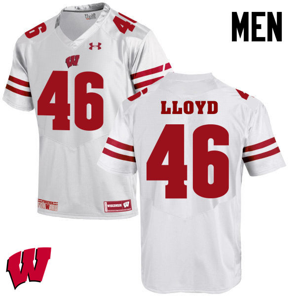 Men Winsconsin Badgers #46 Gabe Lloyd College Football Jerseys-White