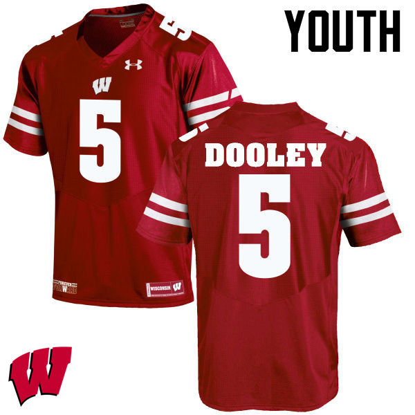 Youth Wisconsin Badgers #5 Garret Dooley College Football Jerseys-Red