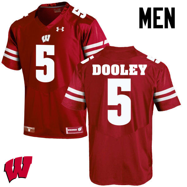 Men Wisconsin Badgers #5 Garret Dooley College Football Jerseys-Red