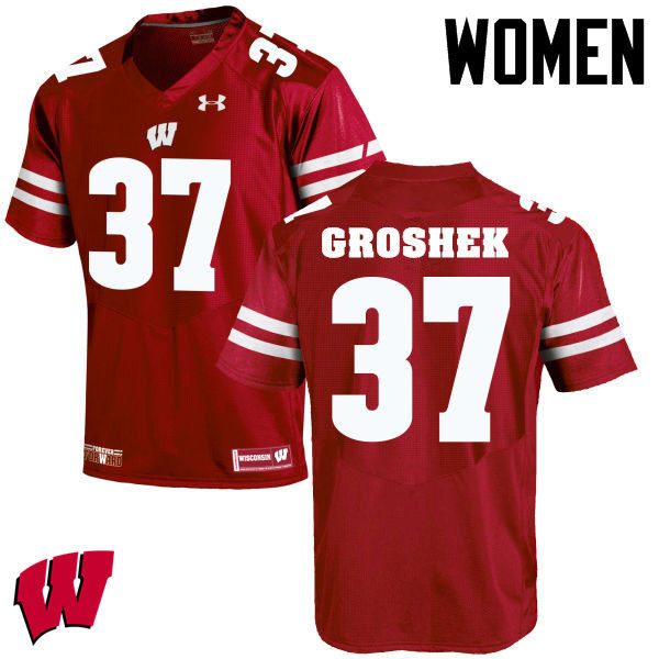 Women Winsconsin Badgers #37 Garrett Groshek College Football Jerseys-Red