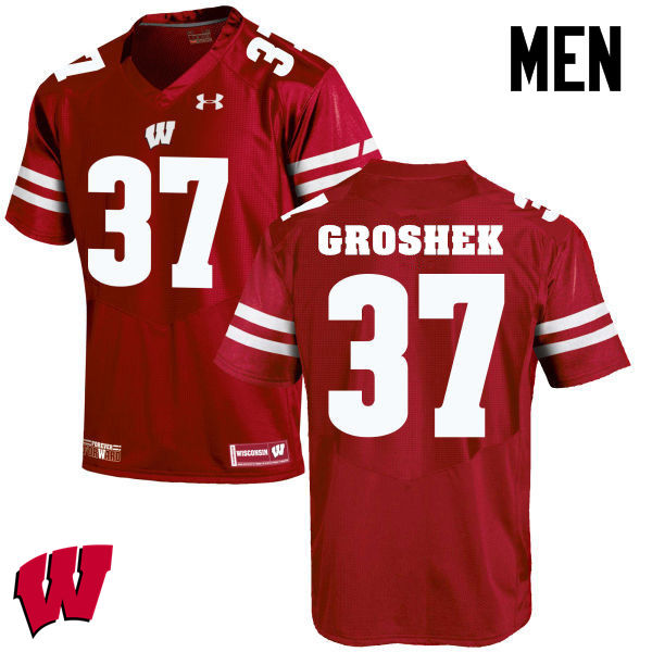 Men Winsconsin Badgers #37 Garrett Groshek College Football Jerseys-Red