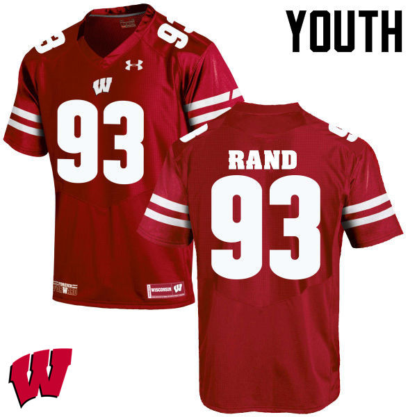 Youth Wisconsin Badgers #93 Garrett Rand College Football Jerseys-Red