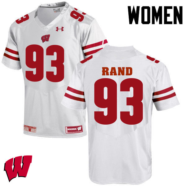 Women Wisconsin Badgers #93 Garrett Rand College Football Jerseys-White