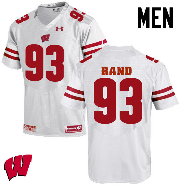 Men Wisconsin Badgers #93 Garrett Rand College Football Jerseys-White