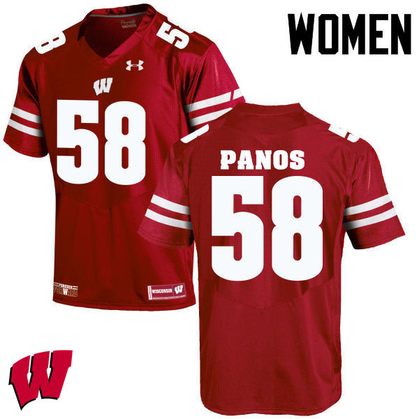 Women Wisconsin Badgers #58 George Panos College Football Jerseys-Red