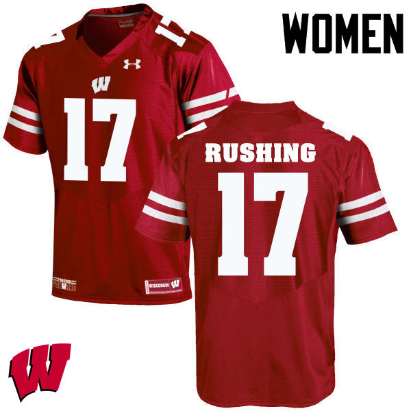 Women Wisconsin Badgers #17 George Rushing College Football Jerseys-Red