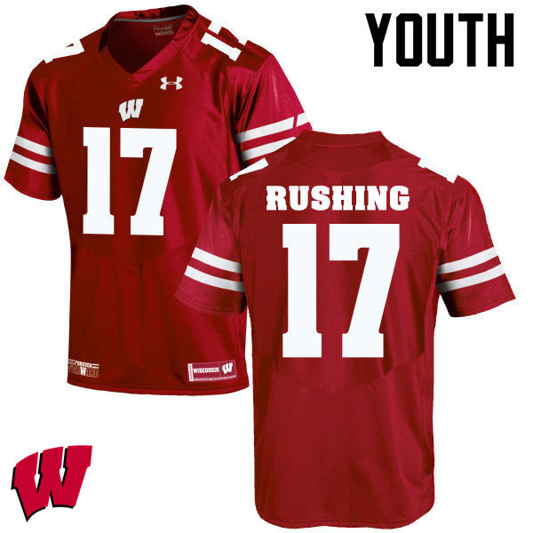 Youth Wisconsin Badgers #17 George Rushing College Football Jerseys-Red
