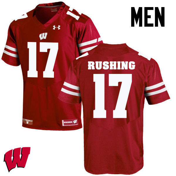 Men Wisconsin Badgers #17 George Rushing College Football Jerseys-Red