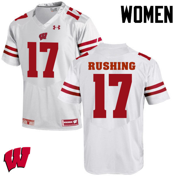 Women Wisconsin Badgers #17 George Rushing College Football Jerseys-White