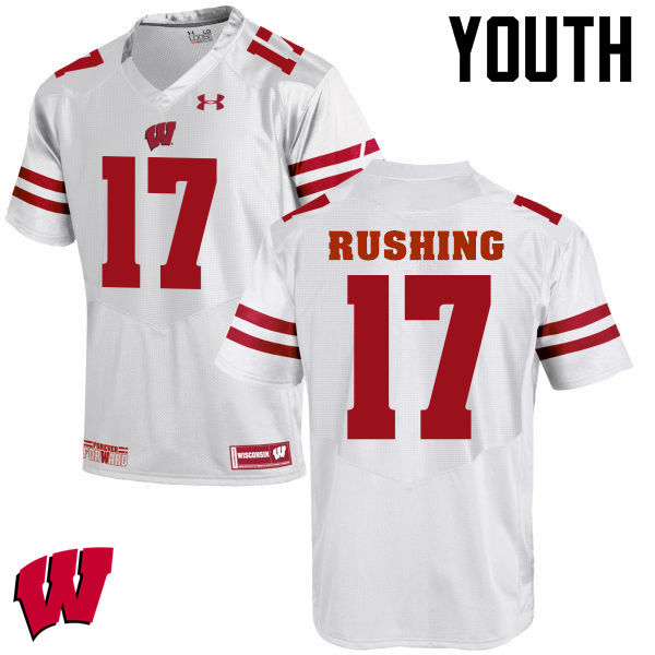 Youth Wisconsin Badgers #17 George Rushing College Football Jerseys-White