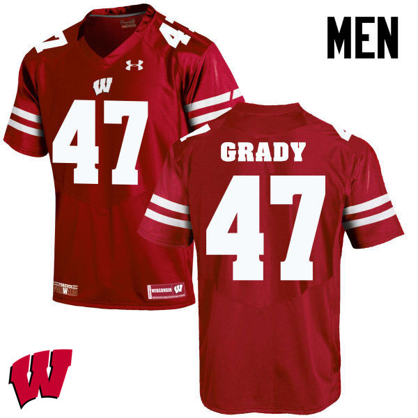 Men Wisconsin Badgers #51 Griffin Grady College Football Jerseys-Red