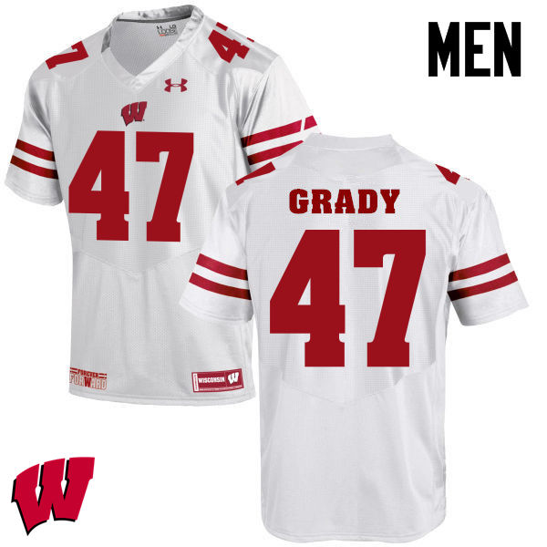 Men Wisconsin Badgers #51 Griffin Grady College Football Jerseys-White