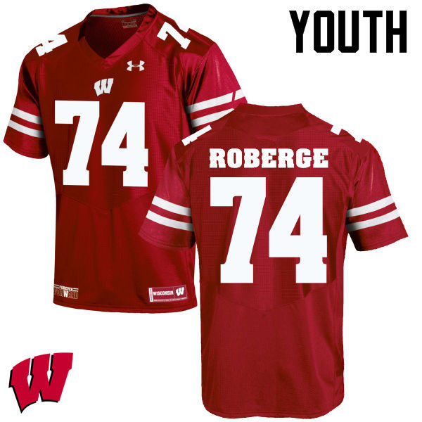 Youth Wisconsin Badgers #74 Gunnar Roberge College Football Jerseys-Red