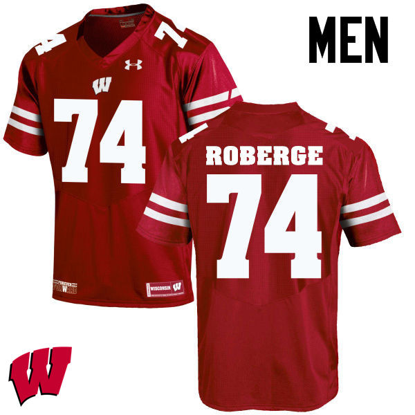 Men Wisconsin Badgers #74 Gunnar Roberge College Football Jerseys-Red
