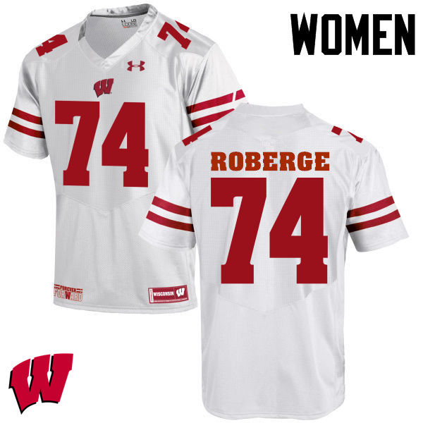 Women Wisconsin Badgers #74 Gunnar Roberge College Football Jerseys-White