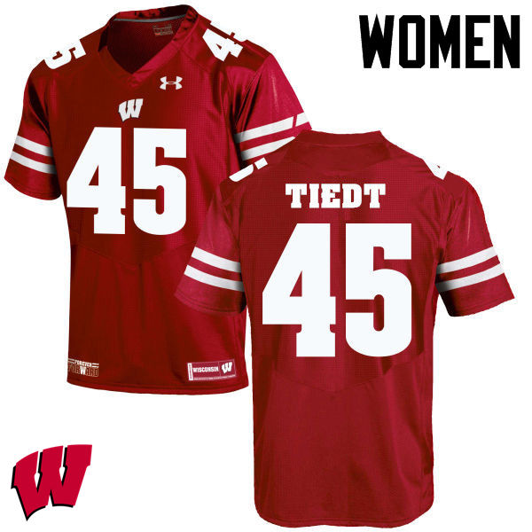 Women Winsconsin Badgers #45 Hegeman Tiedt College Football Jerseys-Red