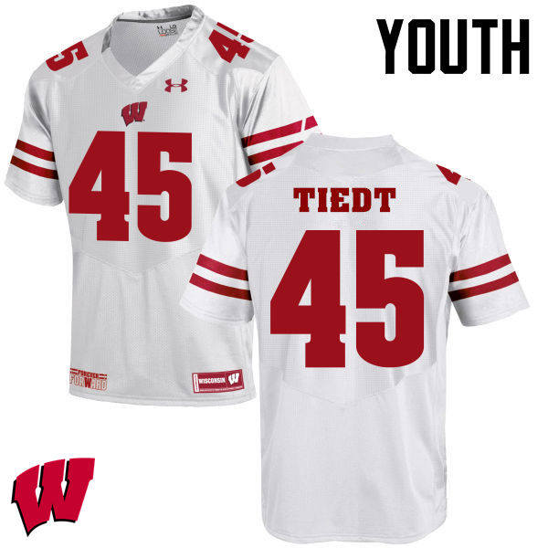 Youth Wisconsin Badgers #68 Hegeman Tiedt College Football Jerseys-White