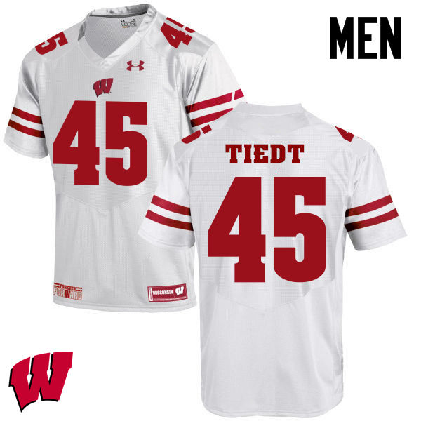 Men Winsconsin Badgers #45 Hegeman Tiedt College Football Jerseys-White