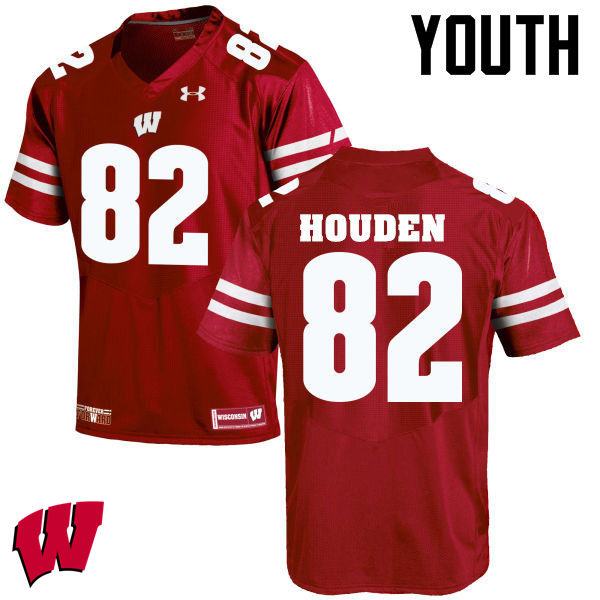 Youth Wisconsin Badgers #82 Henry Houden College Football Jerseys-Red