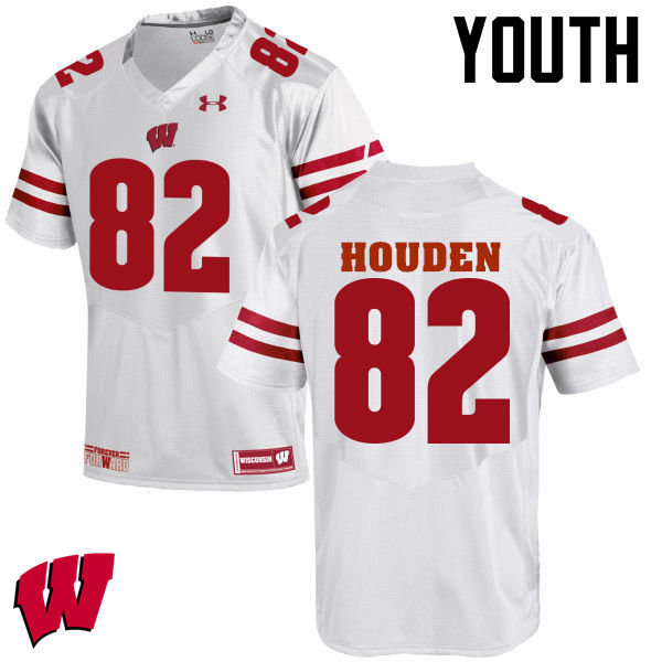 Youth Wisconsin Badgers #82 Henry Houden College Football Jerseys-White