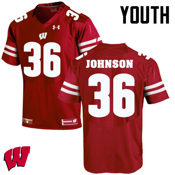 Youth Winsconsin Badgers #36 Hunter Johnson College Football Jerseys-Red