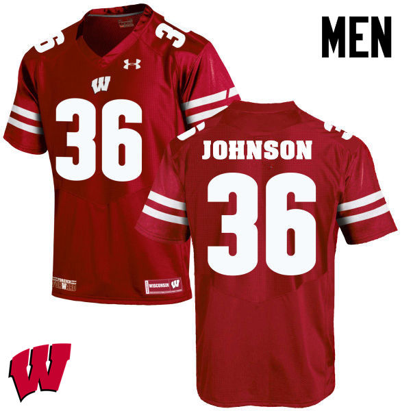 Men Winsconsin Badgers #36 Hunter Johnson College Football Jerseys-Red