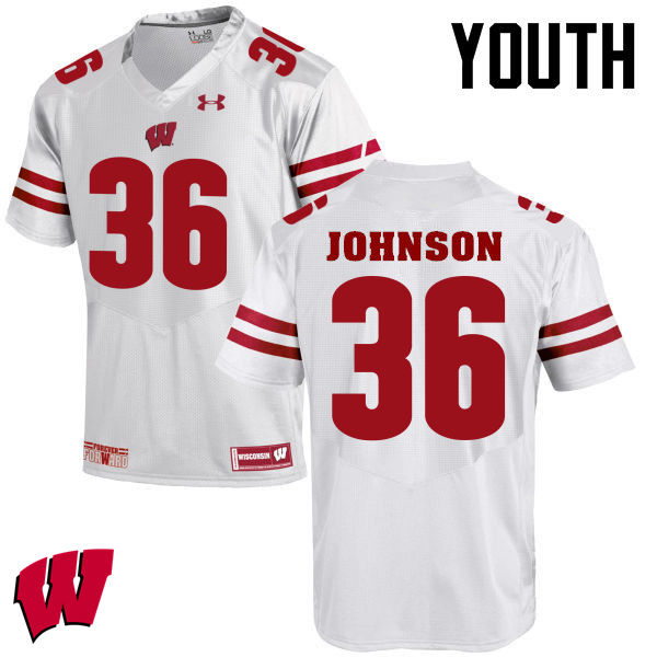 Youth Winsconsin Badgers #36 Hunter Johnson College Football Jerseys-White