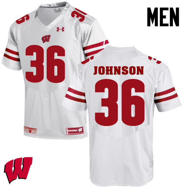 Men Winsconsin Badgers #36 Hunter Johnson College Football Jerseys-White