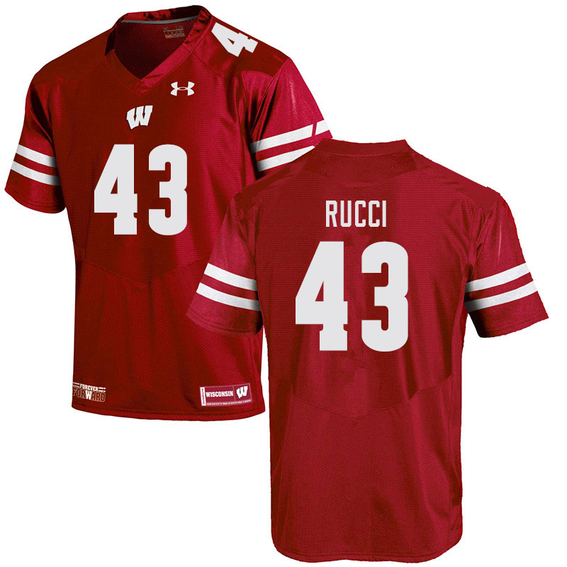 Men #43 Hayden Rucci Wisconsin Badgers College Football Jerseys Sale-Red
