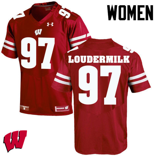 Women Wisconsin Badgers #97 Isaiahh Loudermilk College Football Jerseys-Red