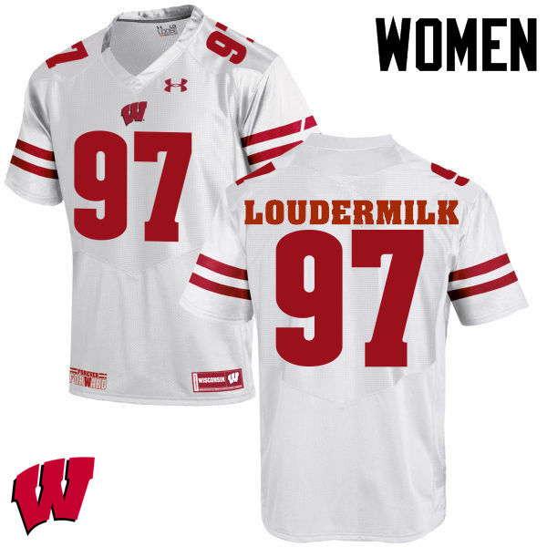 Women Wisconsin Badgers #97 Isaiahh Loudermilk College Football Jerseys-White