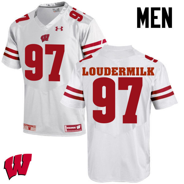 Men Wisconsin Badgers #97 Isaiahh Loudermilk College Football Jerseys-White