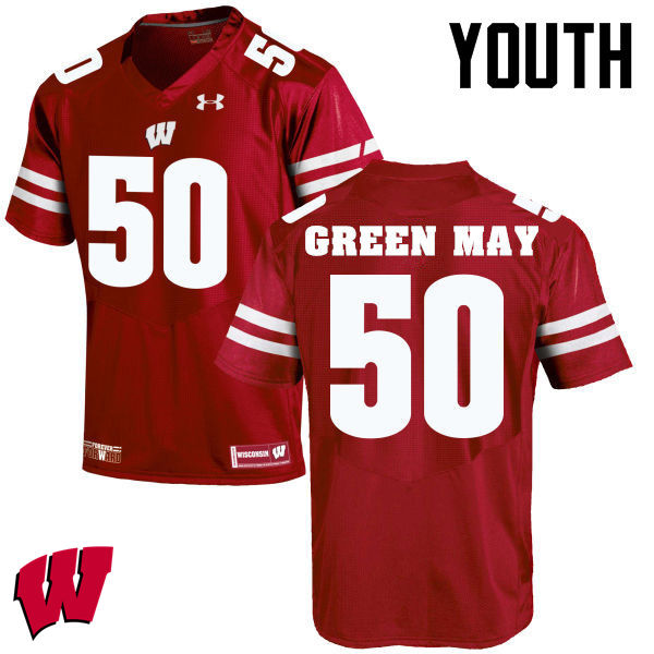 Youth Winsconsin Badgers #50 Izayah Green-May College Football Jerseys-Red