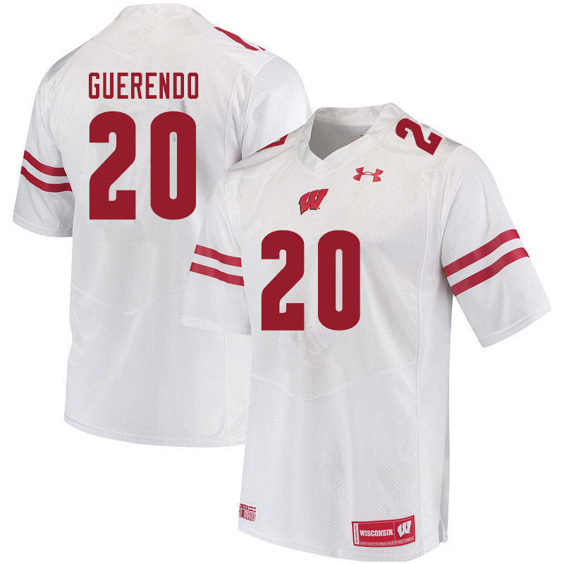 Men #20 Isaac Guerendo Wisconsin Badgers College Football Jerseys Sale-White