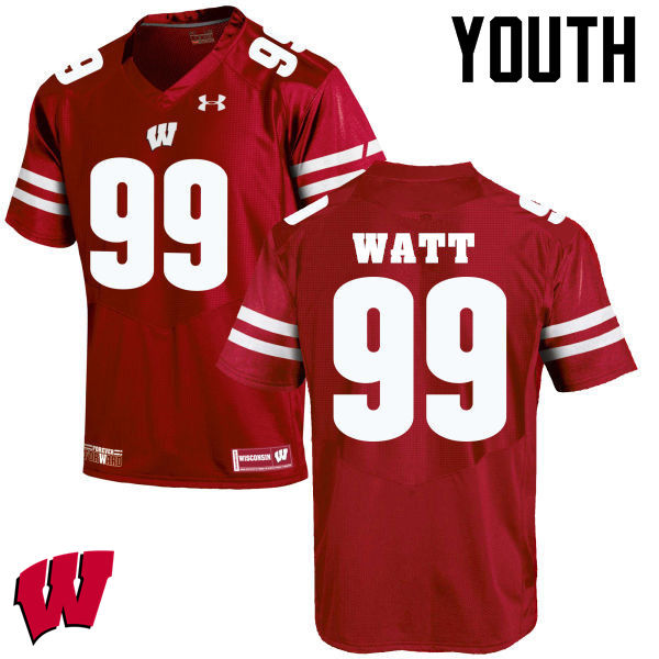 Youth Wisconsin Badgers #99 J. J. Watt College Football Jerseys-Red