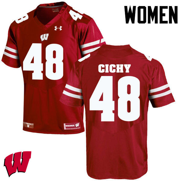 Women Wisconsin Badgers #48 Jack Cichy College Football Jerseys-Red