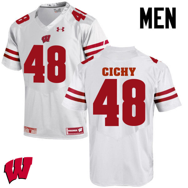 Men Wisconsin Badgers #48 Jack Cichy College Football Jerseys-White