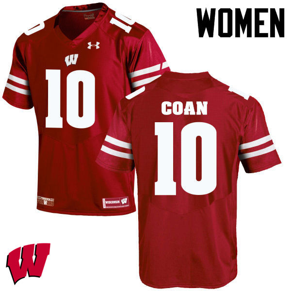 Women Winsconsin Badgers #10 Jack Coan College Football Jerseys-Red