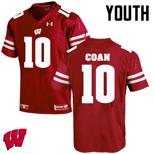 Youth Winsconsin Badgers #10 Jack Coan College Football Jerseys-Red