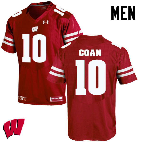 Men Winsconsin Badgers #10 Jack Coan College Football Jerseys-Red