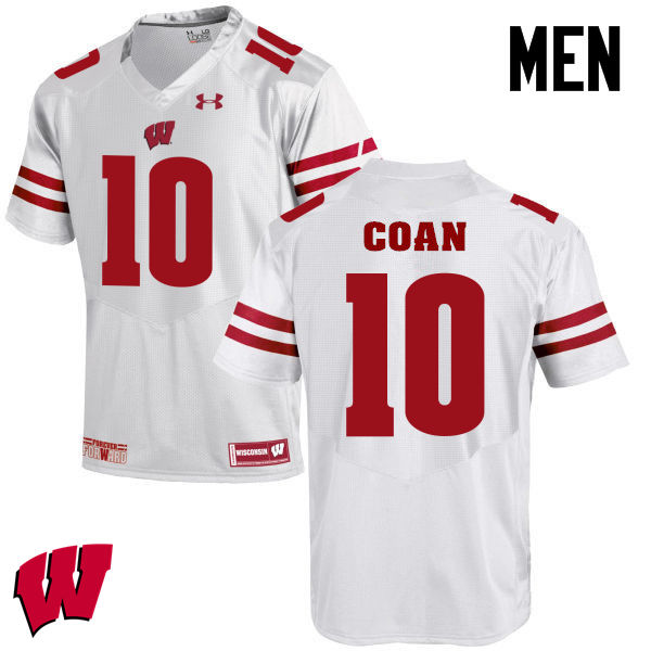 Men Winsconsin Badgers #10 Jack Coan College Football Jerseys-White